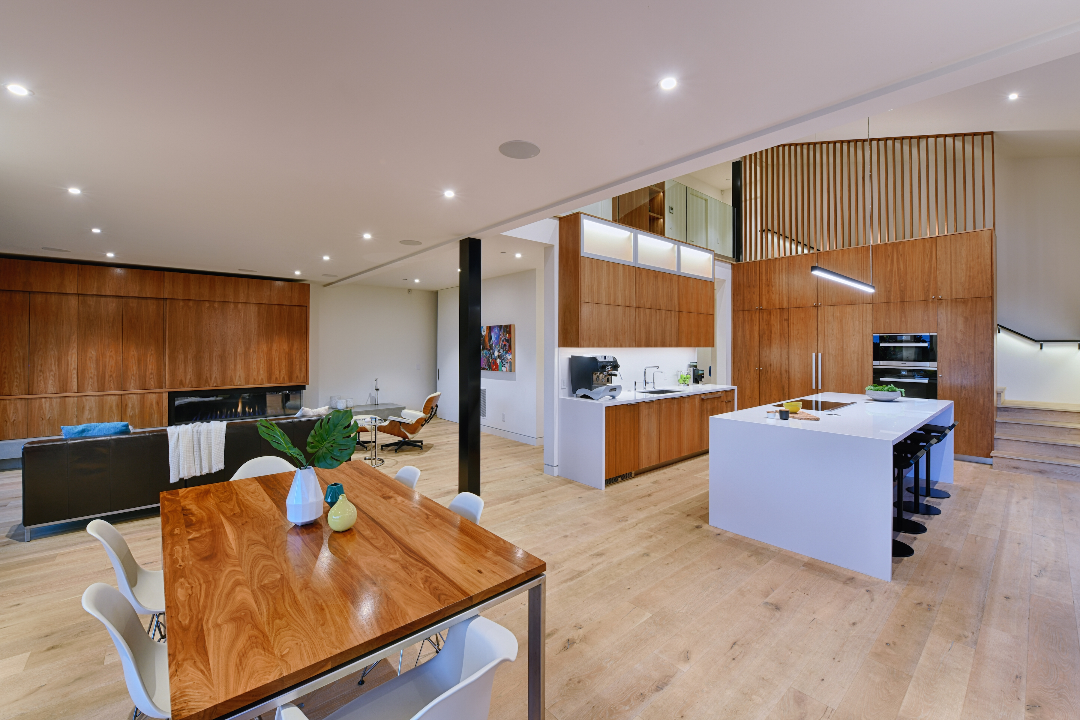 inviting contemporary living room and kitchen