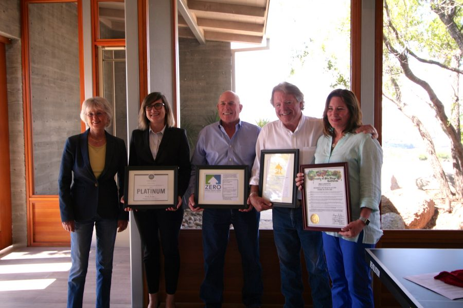 Supervisor Dianne Jacob, SDGBC Executive Director Paulina Lis, AGB President Jeff Adams, and homeowners Pierre Beauregard and Amy McQuillan